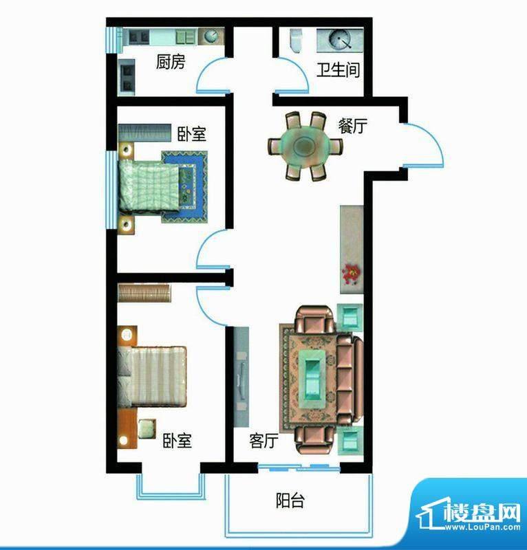 翰林雅筑户型图6号楼B户型 2室面积:94.12平米