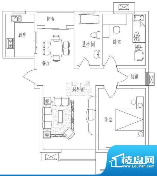 新天地自然康城乙户型(二期已面积:85.50平米