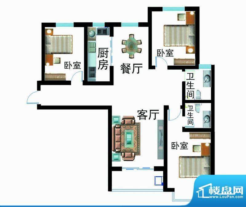 翰林雅筑户型图6号楼D户型 3室面积:138.93平米