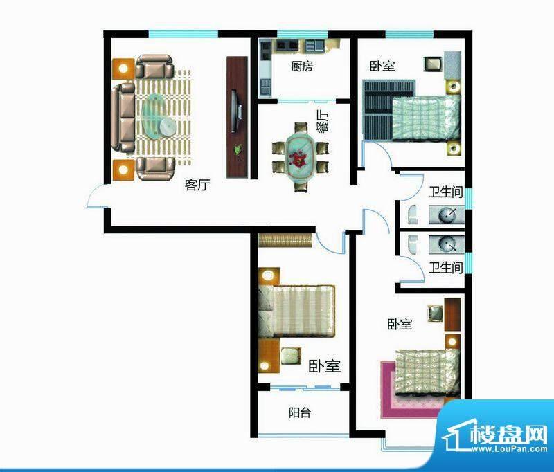 翰林雅筑户型图7号楼A户型3室面积:130.42平米