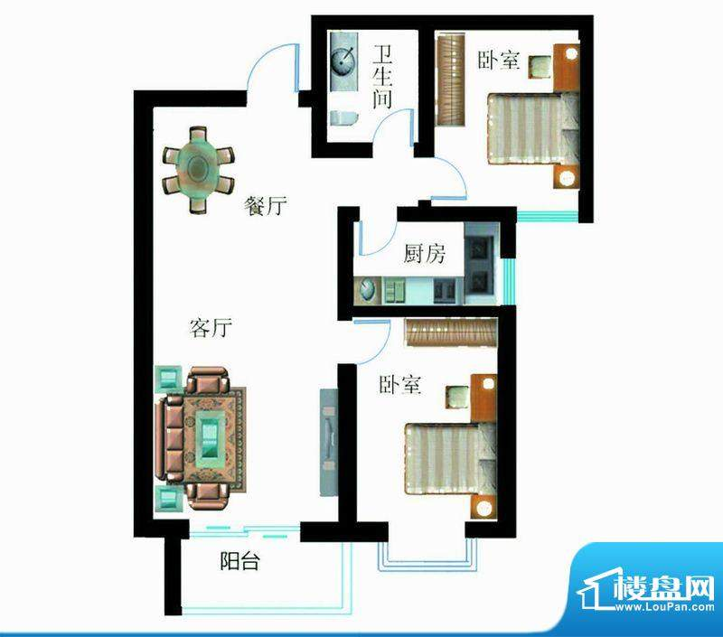 翰林雅筑户型图6号楼C户型2室面积:91.58平米