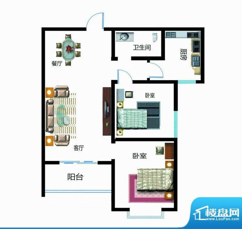 翰林雅筑户型图7号楼B户型 2室面积:97.44平米