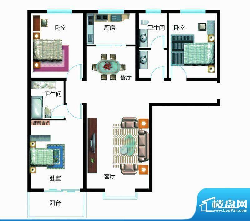 翰林雅筑户型图7号楼C户型 3室面积:132.76平米