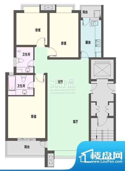 新天地自然康城三期户型图A户型面积:122.00平米