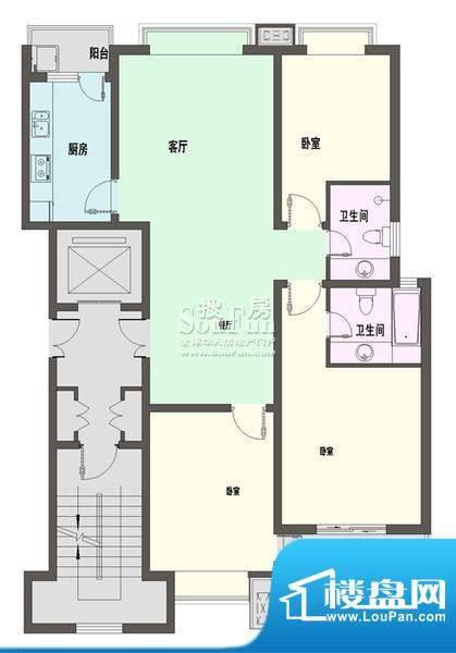 新天地自然康城三期户型图C户型面积:124.00平米