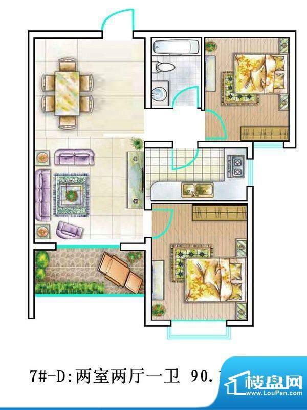 翰林雅筑户型图7号楼D户型 2室面积:90.18平米