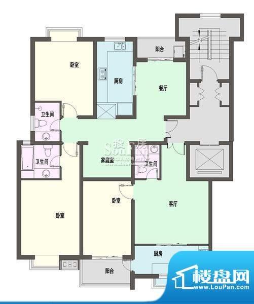 新天地自然康城三期户型图D户型面积:145.00平米