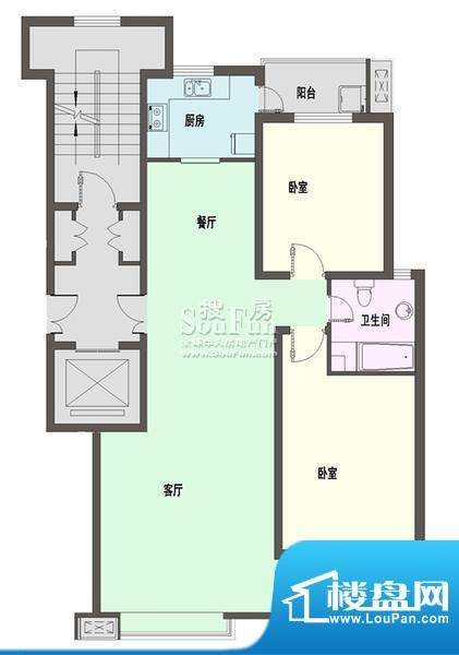 新天地自然康城三期户型图F户型面积:92.00平米