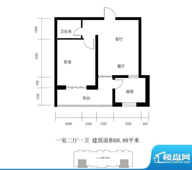 翰林雅筑户型图11号楼顶层 C户面积:68.88平米