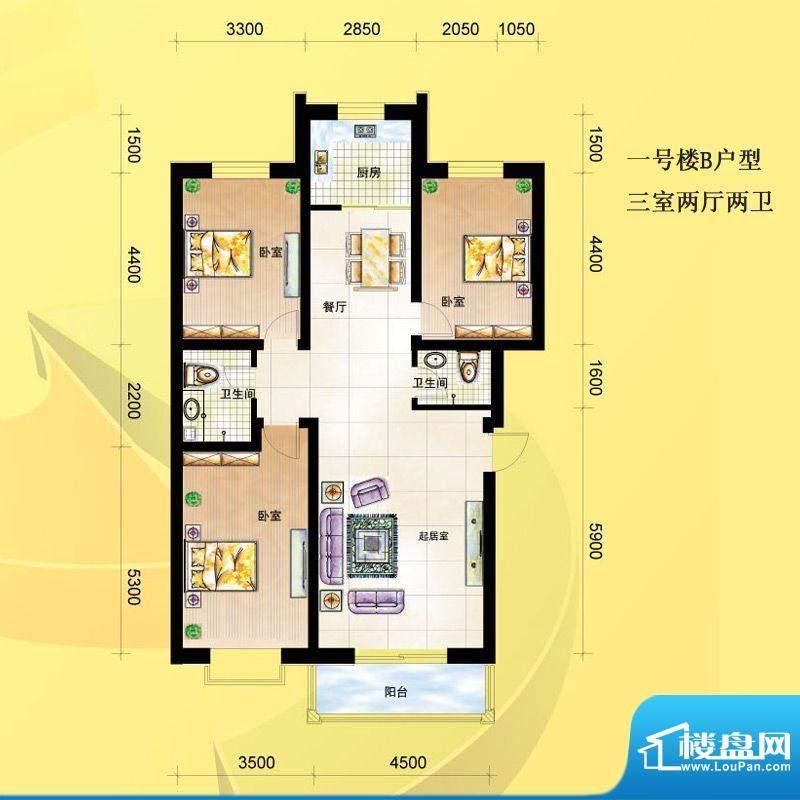 尚达家园户型图一号楼B户型 3室面积:107.00平米