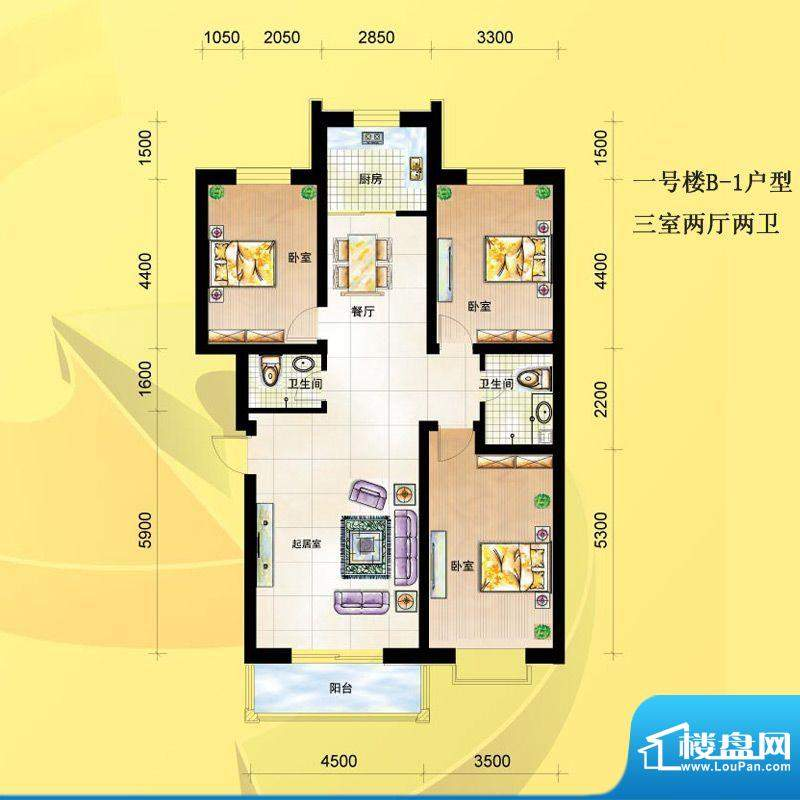 尚达家园户型图一号楼B-1户型 面积:107.00平米