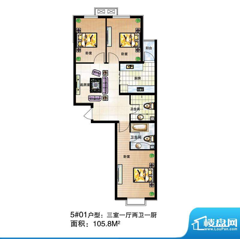 尚达家园户型图5#01户型 3室1厅面积:105.80平米