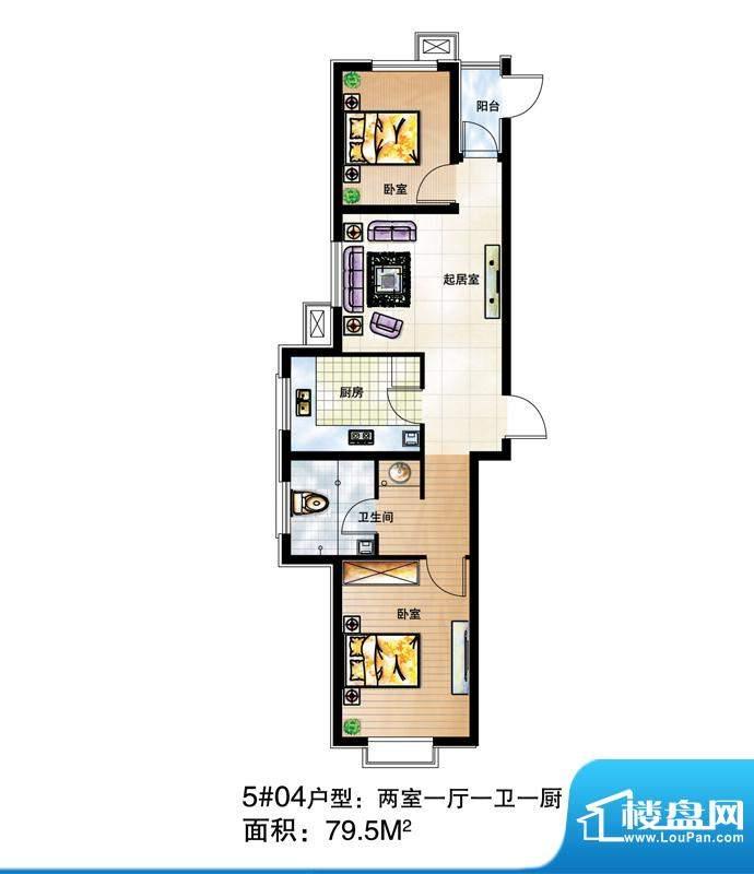 尚达家园户型图5#04户型 2室1厅面积:79.50平米