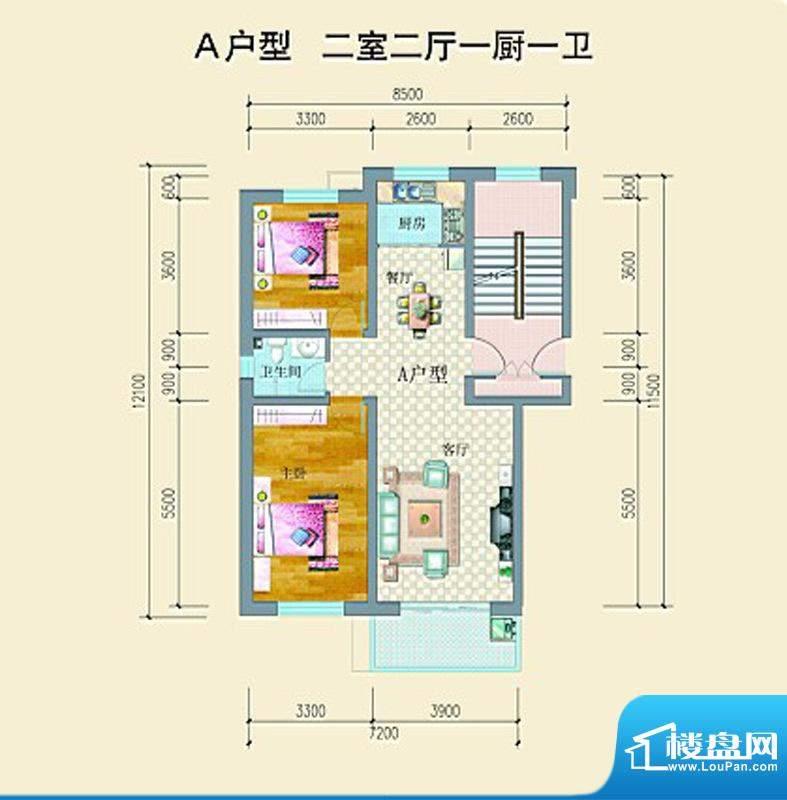 山水龙庭户型图A户型 2室2厅1卫面积:91.03平米