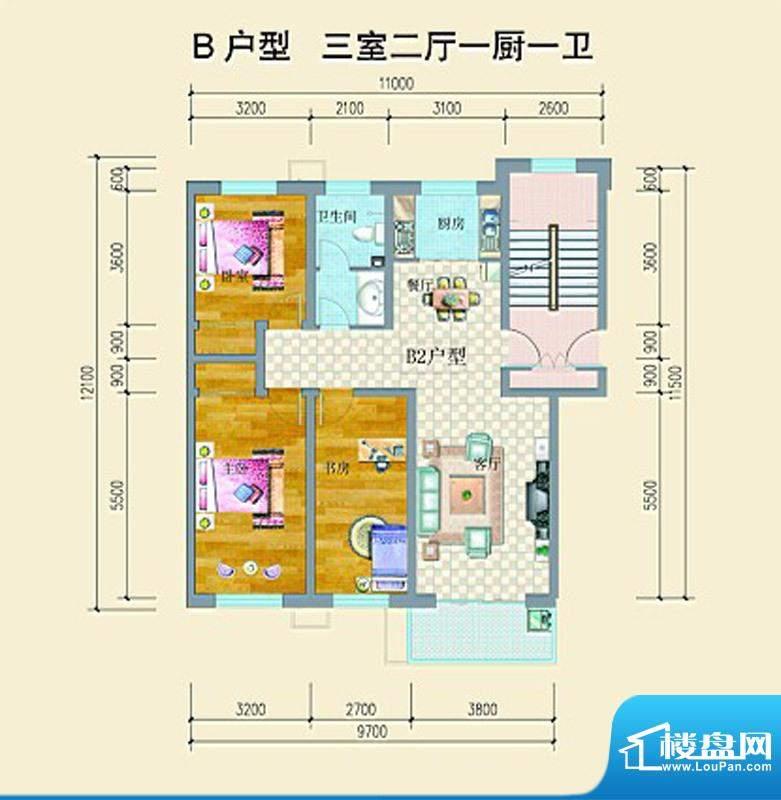 山水龙庭户型图B户型 3室2厅1卫面积:119.15平米