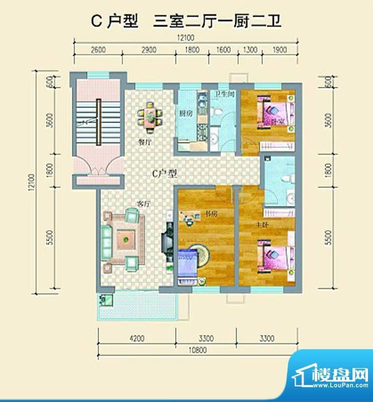 山水龙庭户型图C户型 3室2厅2卫面积:133.50平米