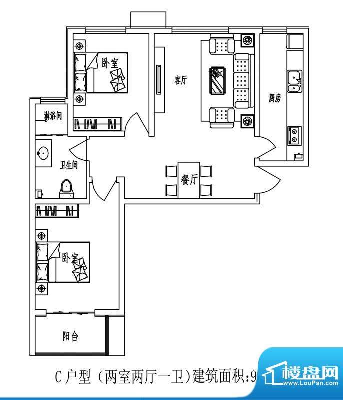 石门福地户型图C户型 2室2厅1卫面积:95.65平米