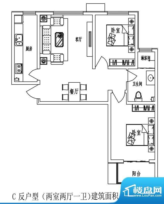 石门福地户型图5号楼C户型(反面积:95.65平米
