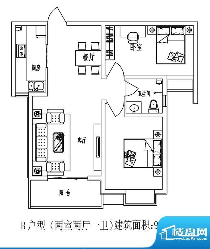 石门福地户型图5号楼B户型(反面积:91.97平米