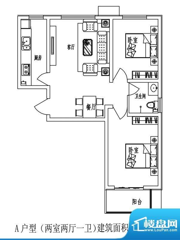石门福地户型图5号楼A户型(售面积:89.01平米