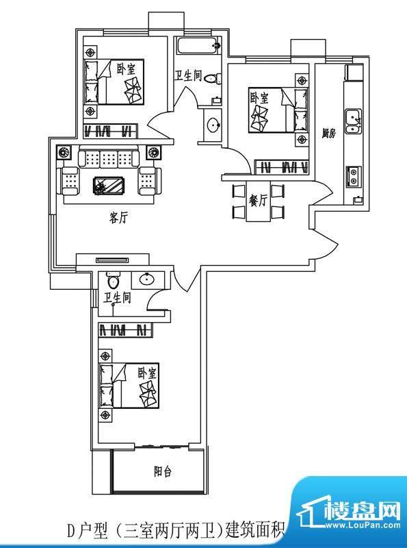 石门福地户型图D户型(售完) 面积:122.56平米
