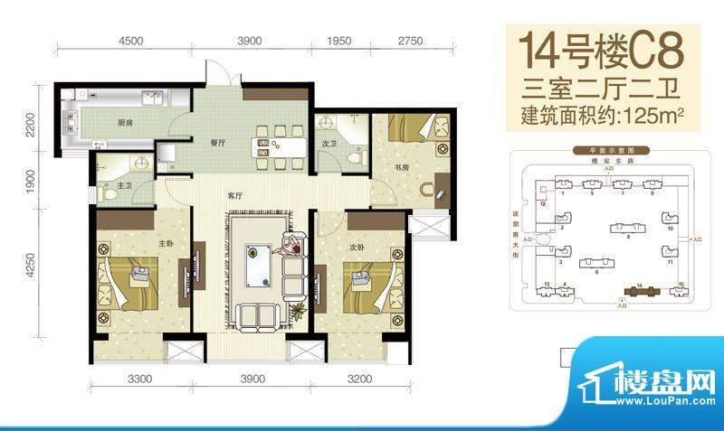西美五洲天地户型图14号楼C8户面积:125.00平米