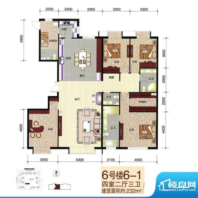 西美五洲天地户型图6号楼6-1户面积:232.00平米