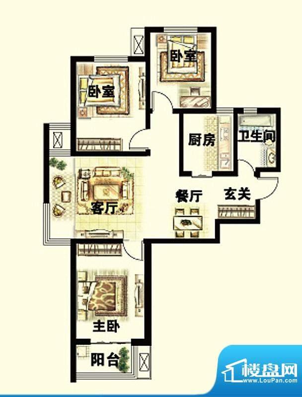 岳泰明珠户型图A户型 3室2厅1卫面积:112.73平米