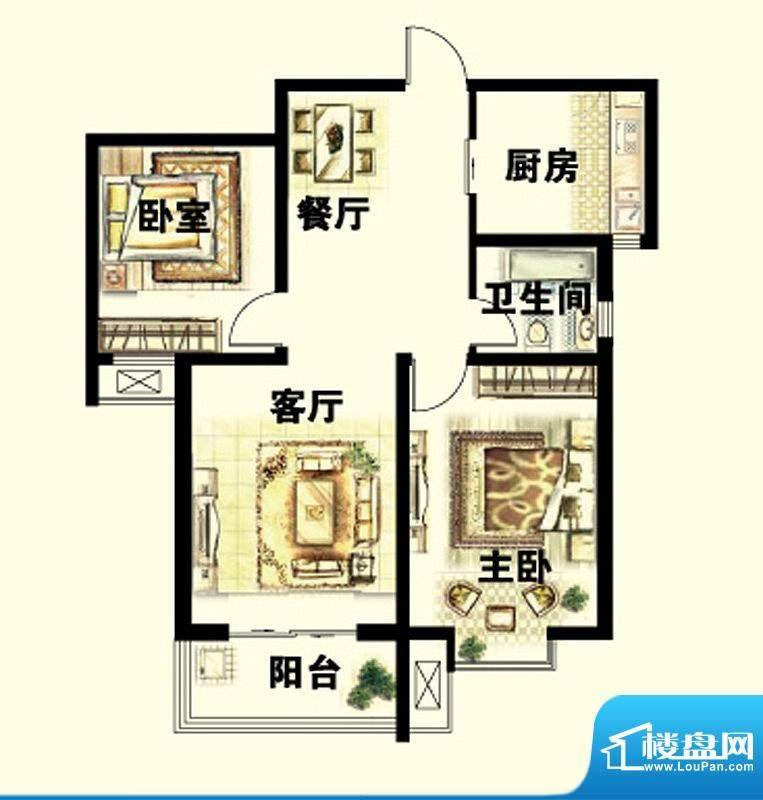 岳泰明珠户型图B户型 2室2厅1卫面积:92.32平米