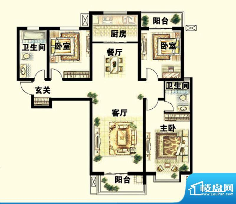 岳泰明珠户型图C户型3室2厅2面积:157.64平米