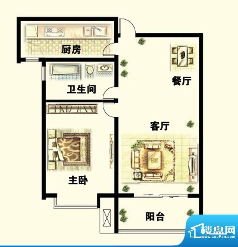 岳泰明珠户型图D户型 1室2厅1卫面积:77.18平米