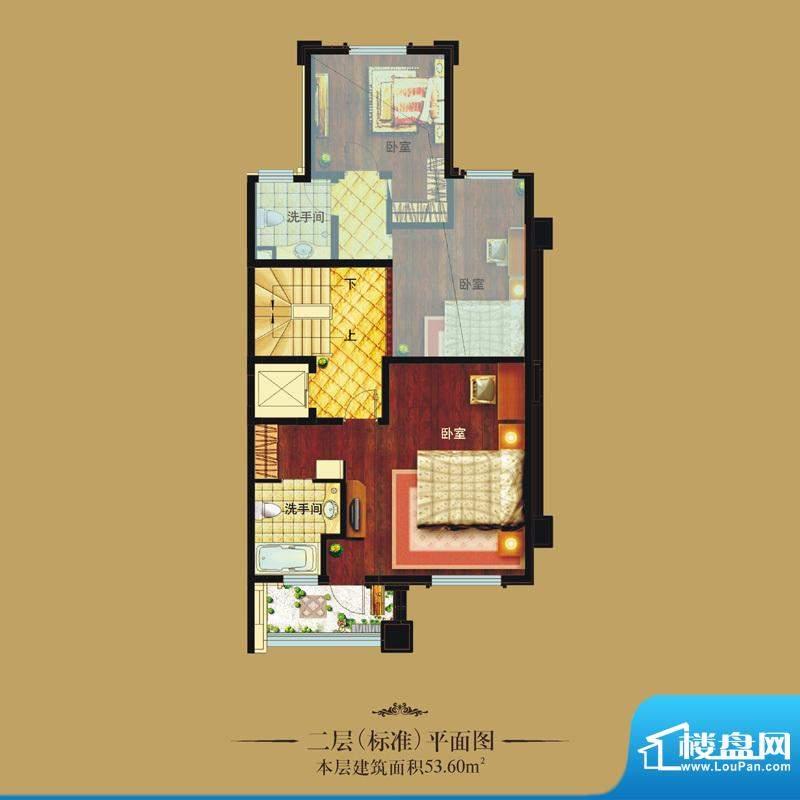 天山龙湖世界户型图联排别墅 二面积:53.60平米