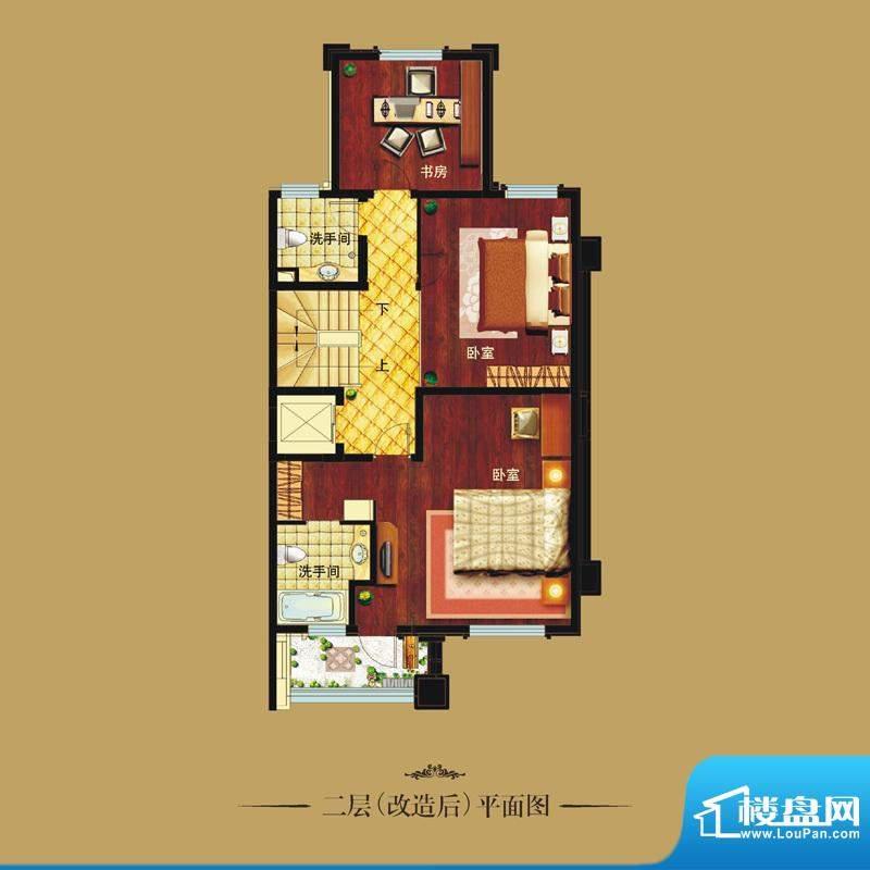 天山龙湖世界户型图联排别墅 二面积:75.00平米