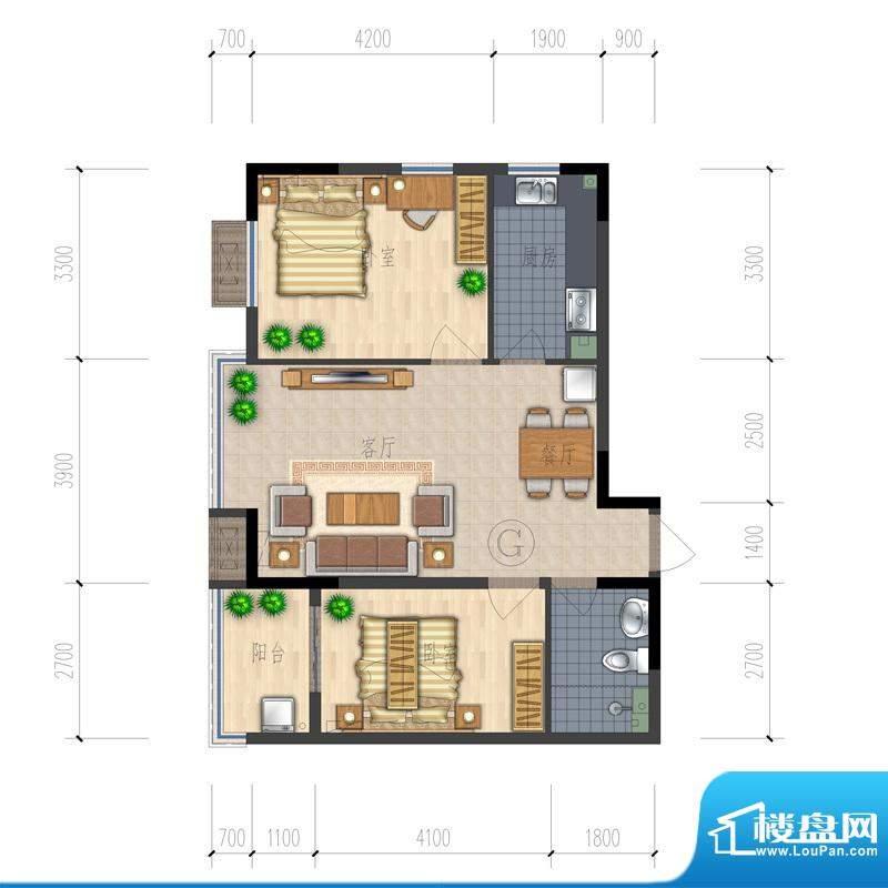 熙园户型图B座G户型 2室2厅1卫面积:86.53平米