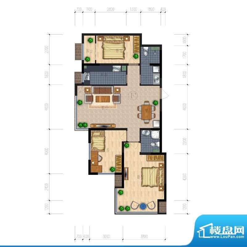 熙园户型图B座F户型 3室2厅2卫面积:129.74平米