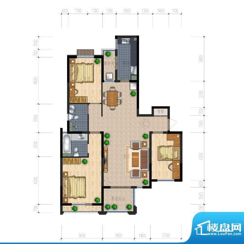 熙园户型图B座C户型 3室2厅2卫面积:139.91平米