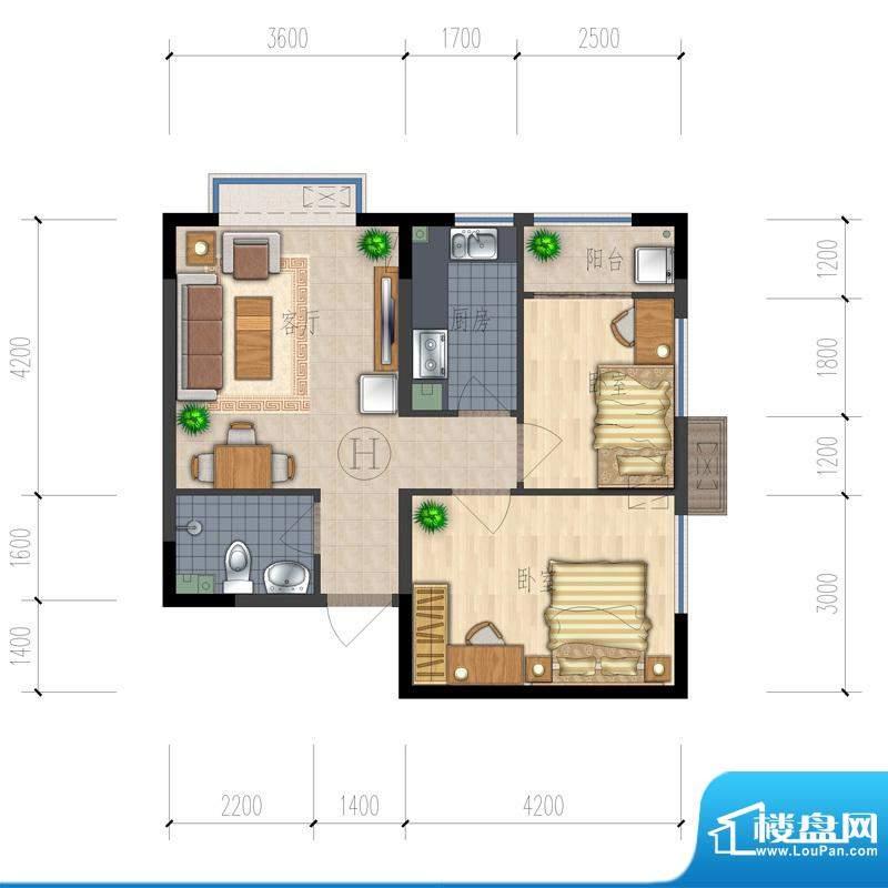 熙园户型图B座H户型 2室1厅1卫面积:64.13平米