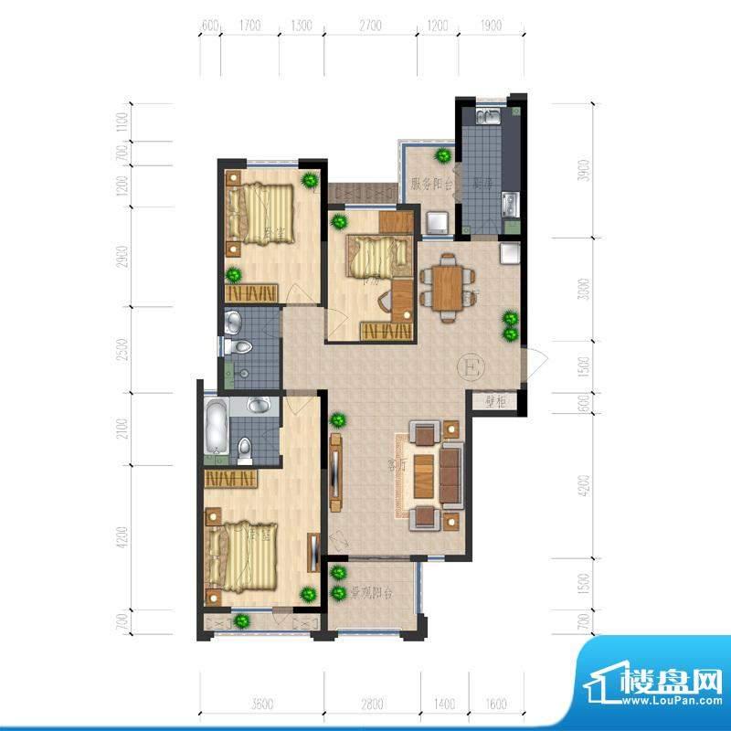 熙园户型图B座E户型 3室2厅2卫面积:139.91平米