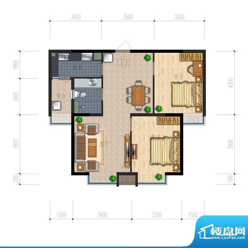熙园户型图B座D户型 2室2厅1卫面积:92.17平米