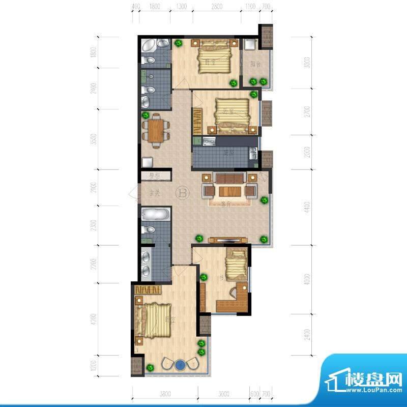熙园户型图B座B户型 4室2厅3卫面积:128.88平米