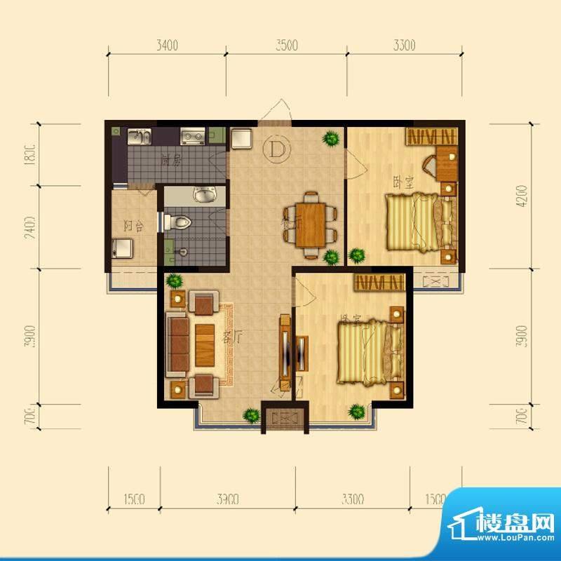 熙园户型图B座D户型90.91㎡ 2室面积:90.91平米