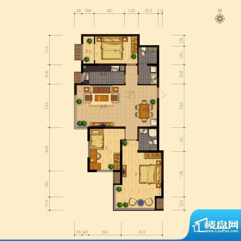 熙园户型图B座F户型126.03㎡ 3面积:126.03平米