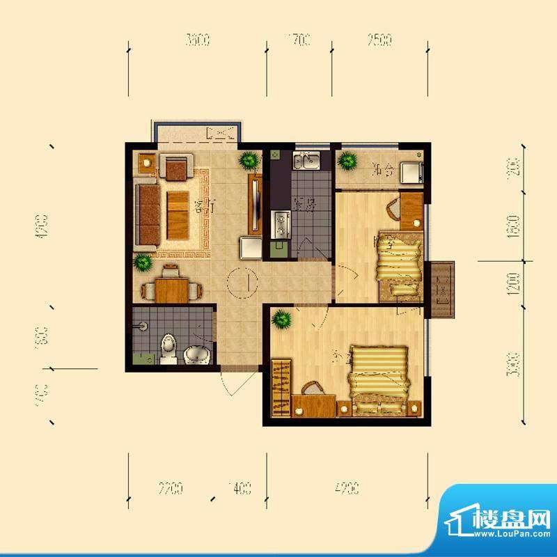 熙园户型图B座H户型64.13㎡ 2室面积:64.13平米