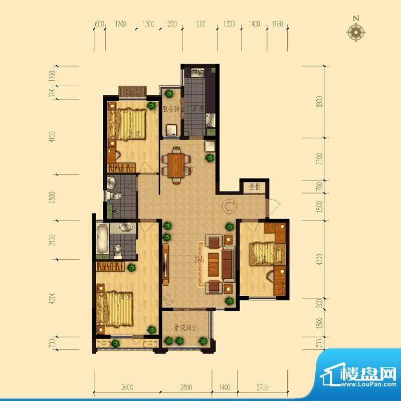 熙园户型图B座C户型137.25㎡ 3面积:137.25平米