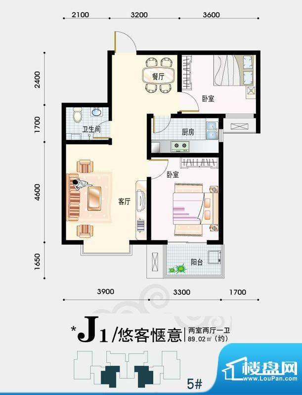 天地荣域户型图5#、6#号楼2-04面积:89.02平米
