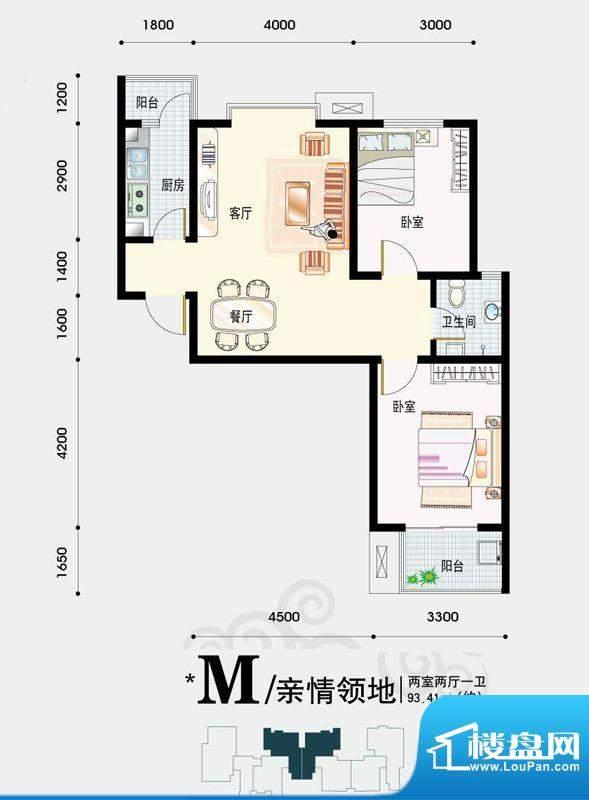 天地荣域户型图5#、6#号楼2-06面积:93.41平米
