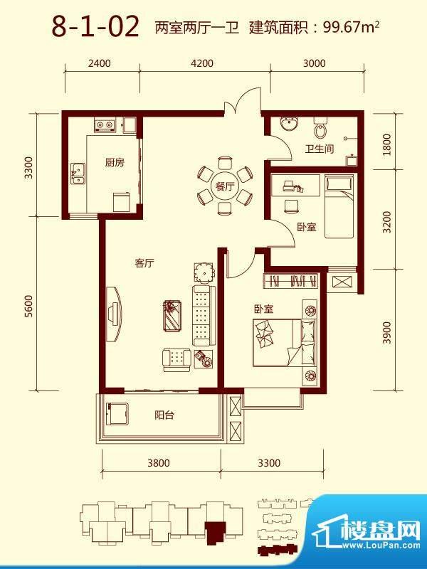 天滋嘉鲤户型图一期8号楼1单元面积:99.67平米