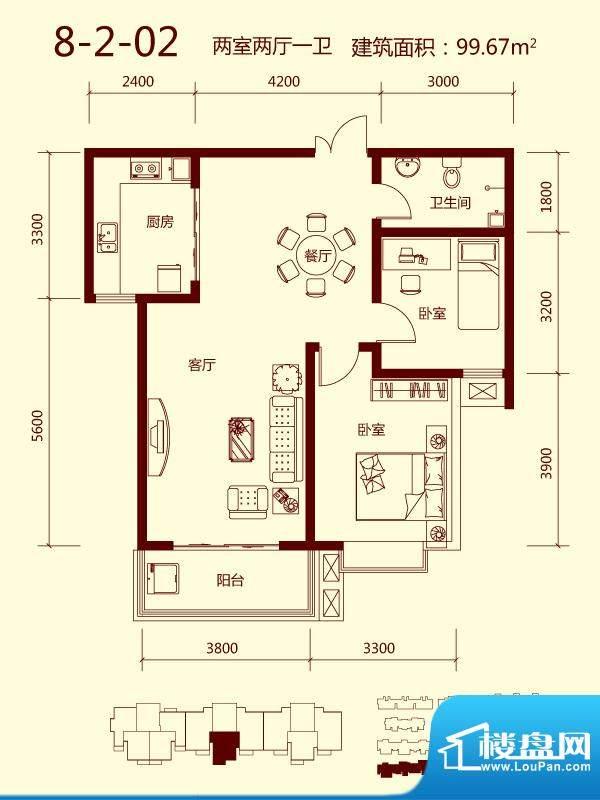 天滋嘉鲤户型图一期8号楼02单元面积:99.67平米