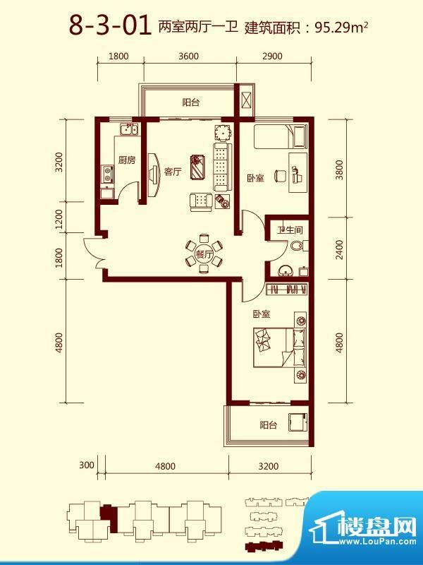 天滋嘉鲤户型图一期8号楼03单元面积:95.29平米