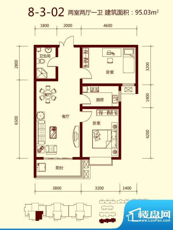 天滋嘉鲤户型图一期8号楼03单元面积:95.03平米